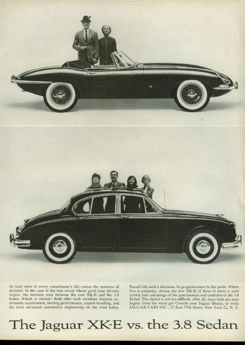 The moment of decision Jaguar XK-E Roadster vs the 3.8 Sedan ad 1961