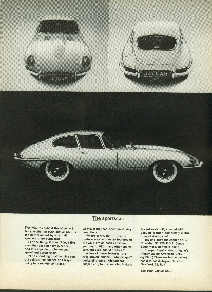THE Sportscar: Jaguar XK-E Coupe five minutes behind the wheel ad 1963 1964