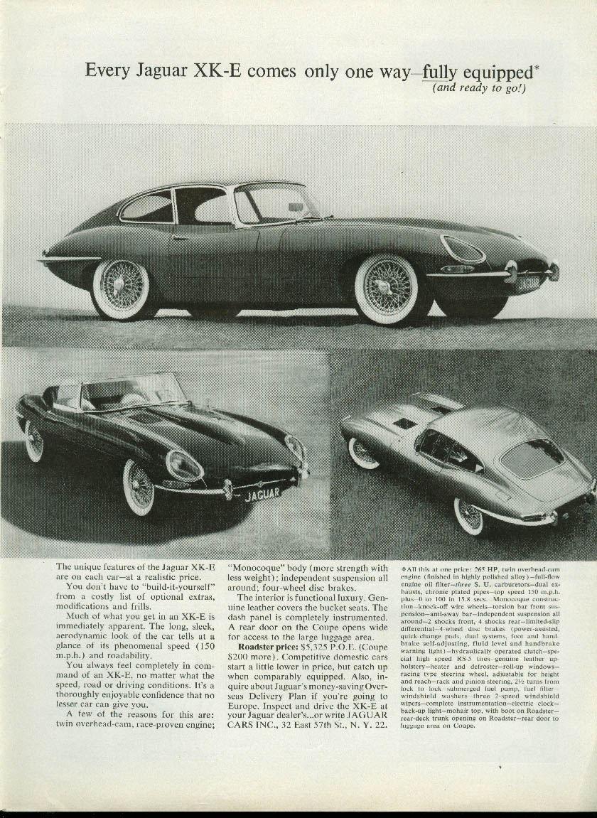 Every Jaguar XK-E comes only one way - fully equipped ad 1963 coupe