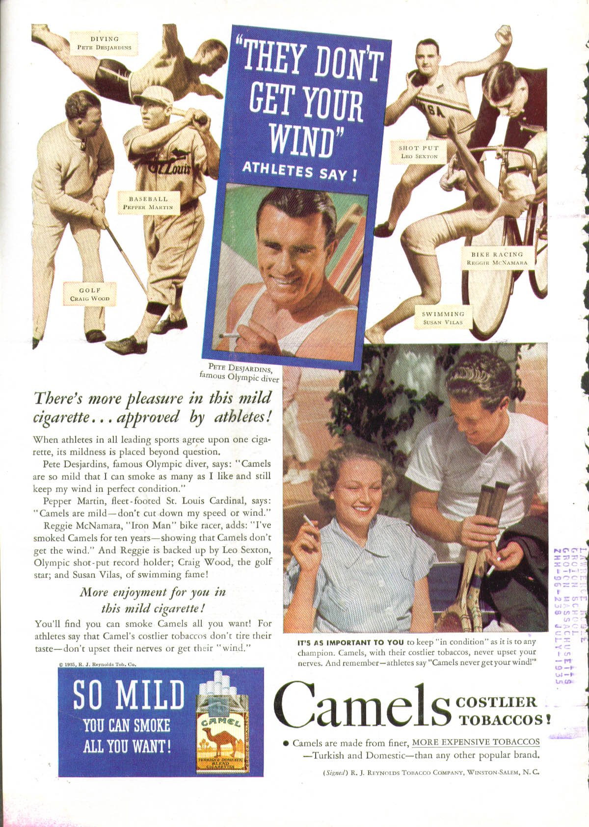 They don't get your wind Big Bill Tilden Pepper Martin Camel Cigarettes ad 1935
