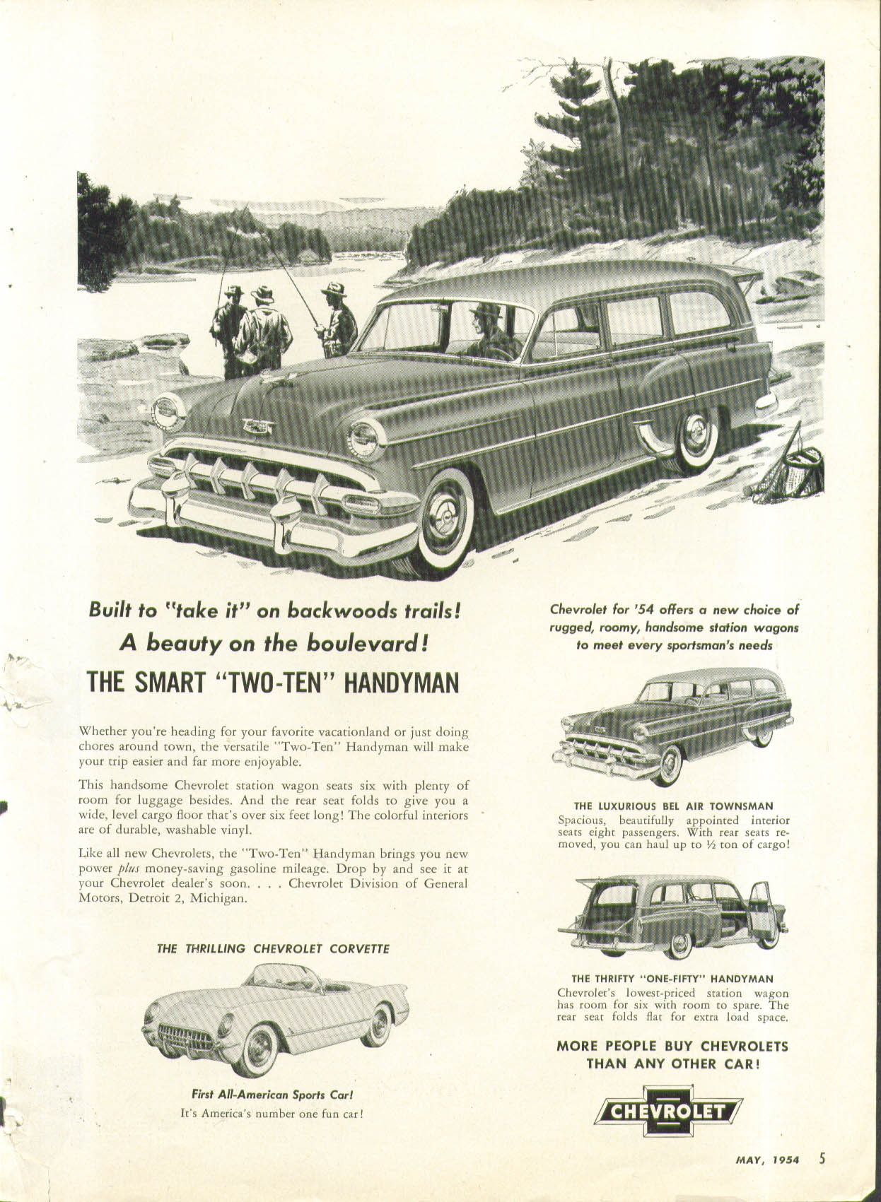 Built to take it Chevrolet Corvette Two-Ten Handyman Townsman ad 1954