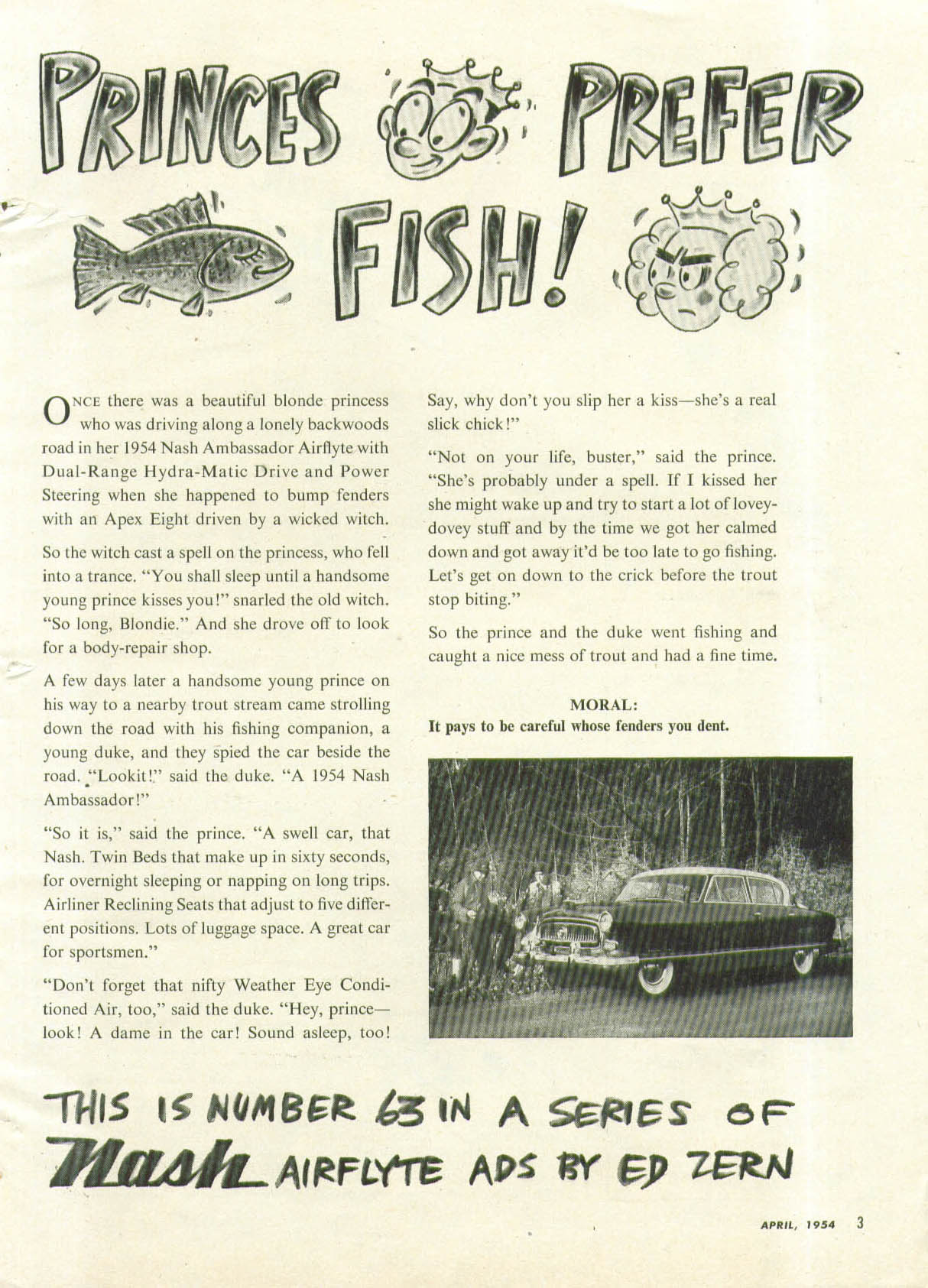 Princes Prefer Fish! By Ed Zern Nash Ambassadsor ad 1954