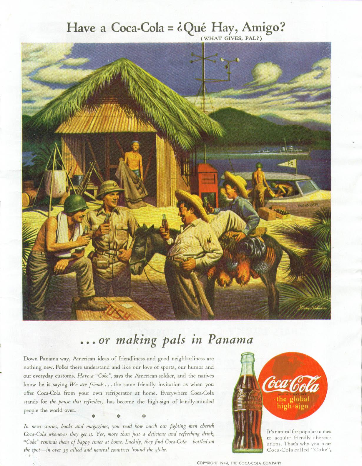 Have a Coca-Cola = Que Hay, Amigo? In Panama Coca-Cola ad 1944