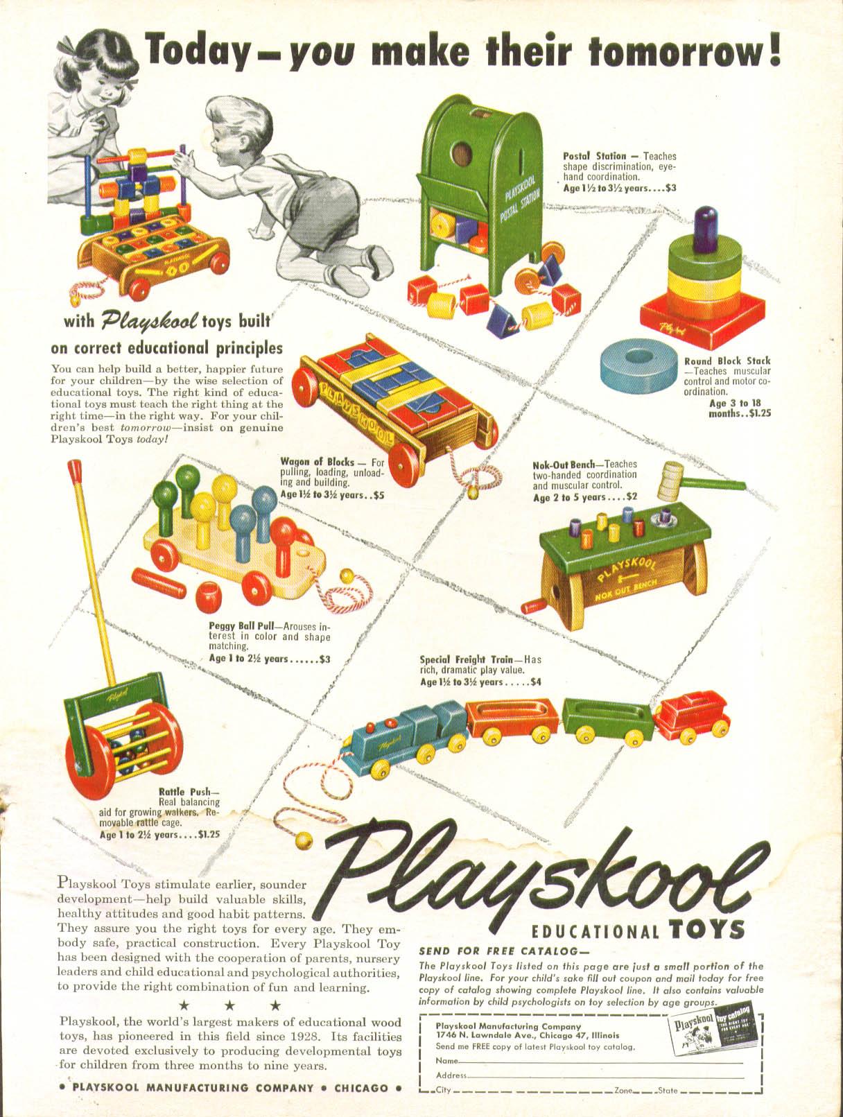 Today you make their tomorrow Playskool ad 1952 train mailbox workbench wagon