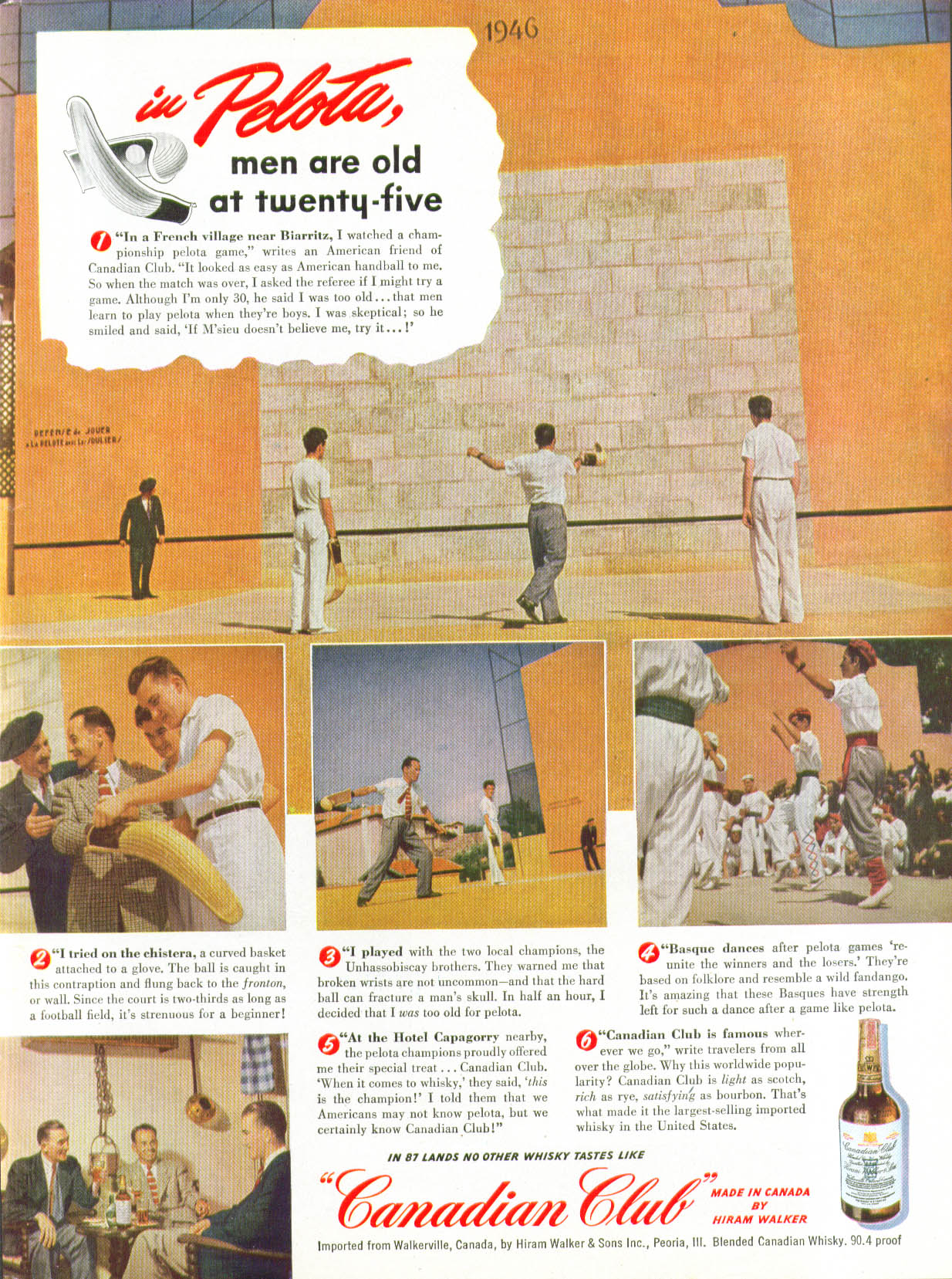 Image for In Pelota men are old at twenty-five Canadian Club Whisky ad 1948 Jai-Alai
