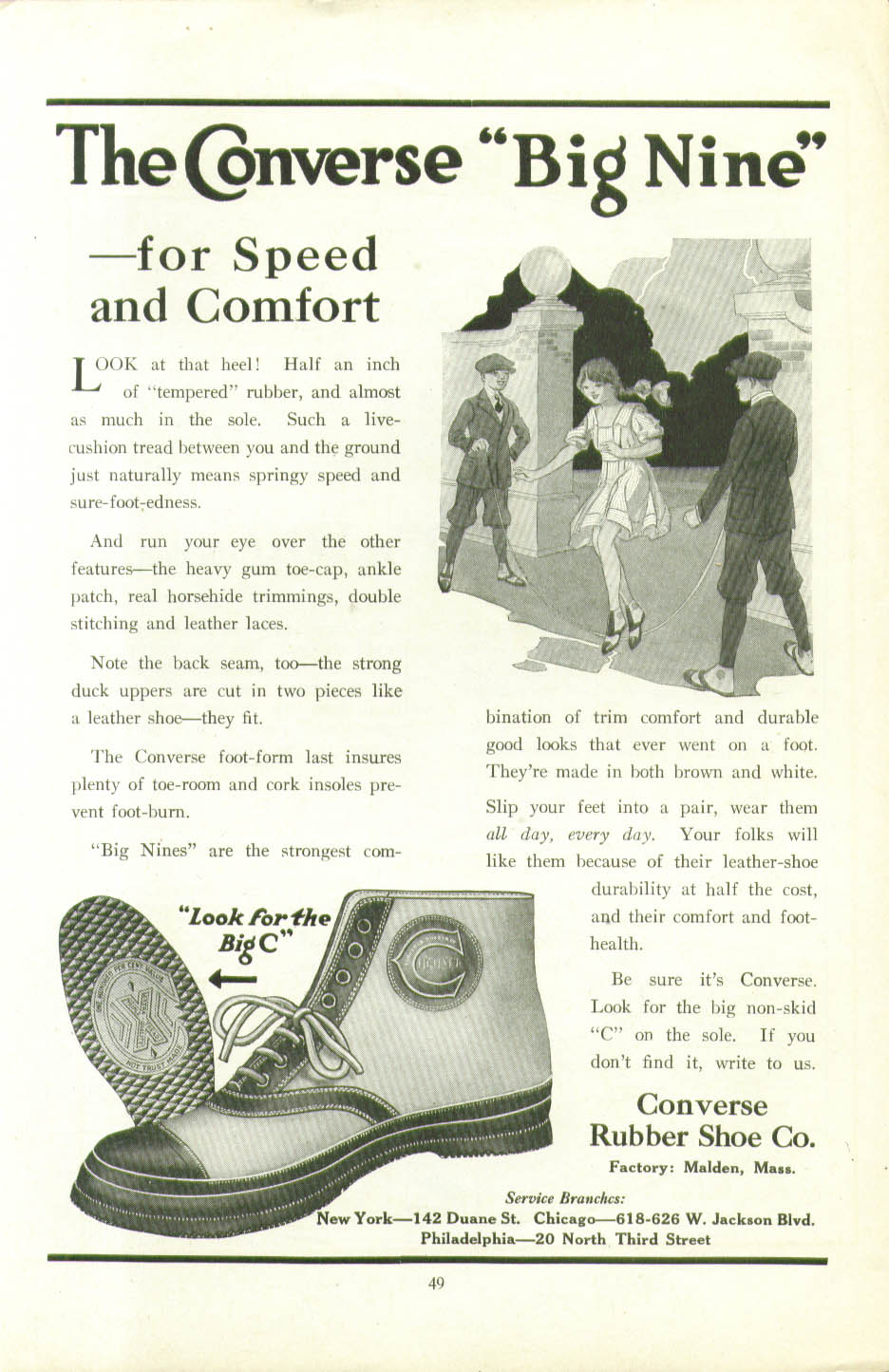 Image for The Converse Big Nine Athletic Shoe for Speed & Comfort ad 1920