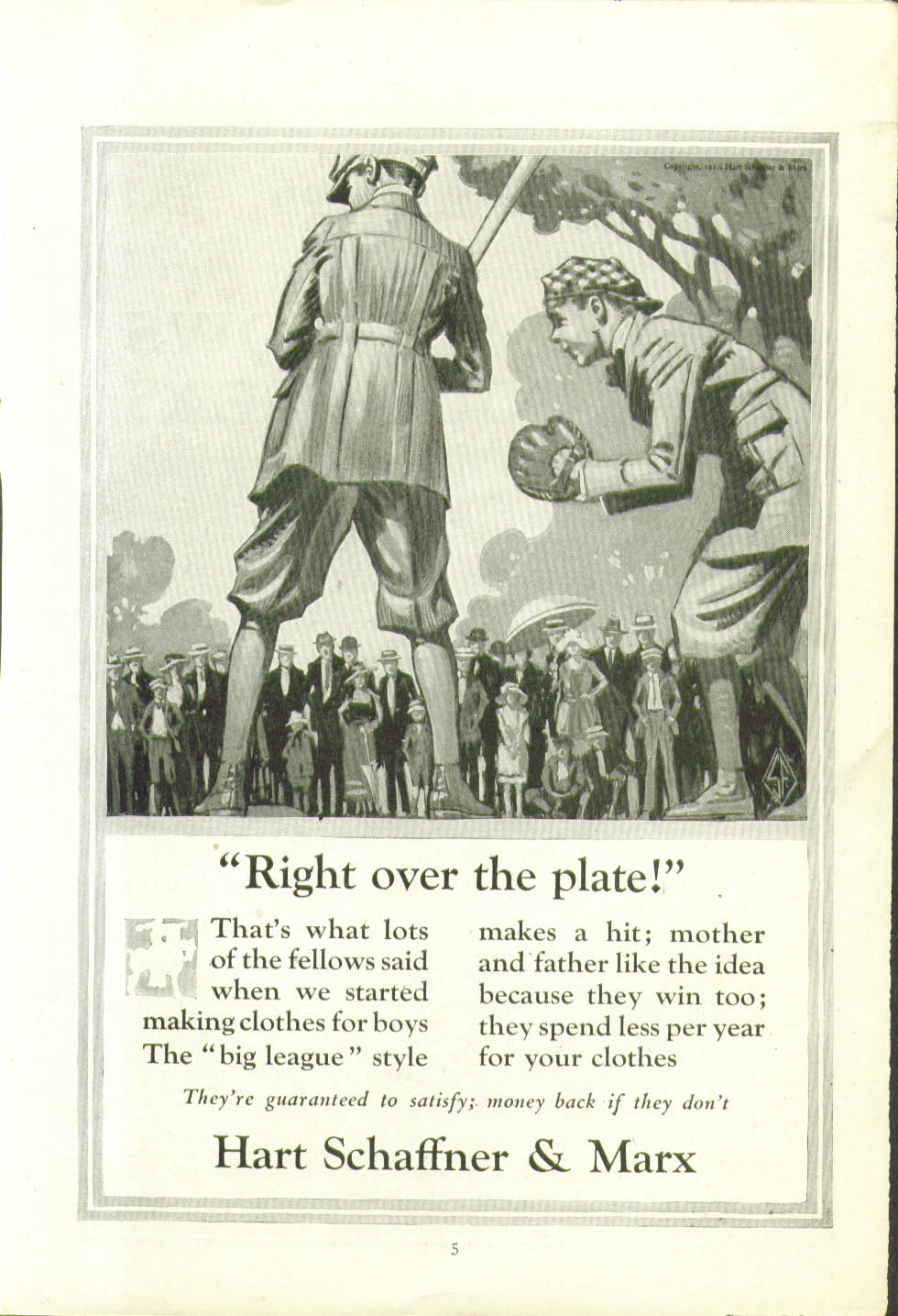 Image for Right over the plate! Hart Schaffner & Marx for Boys ad 1920 baseball game