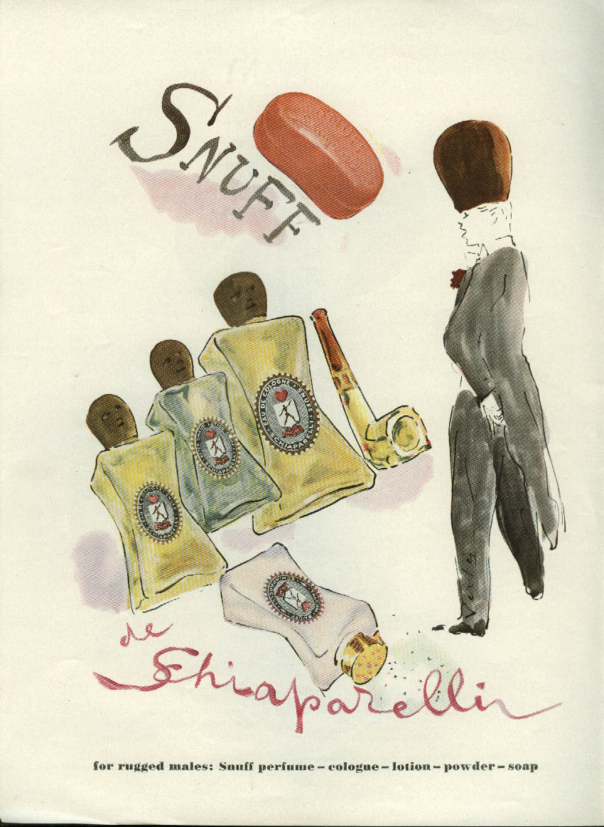 For rugged males Snuff de Schiaparelli ad 1949 dude in beaver hat by Vertes