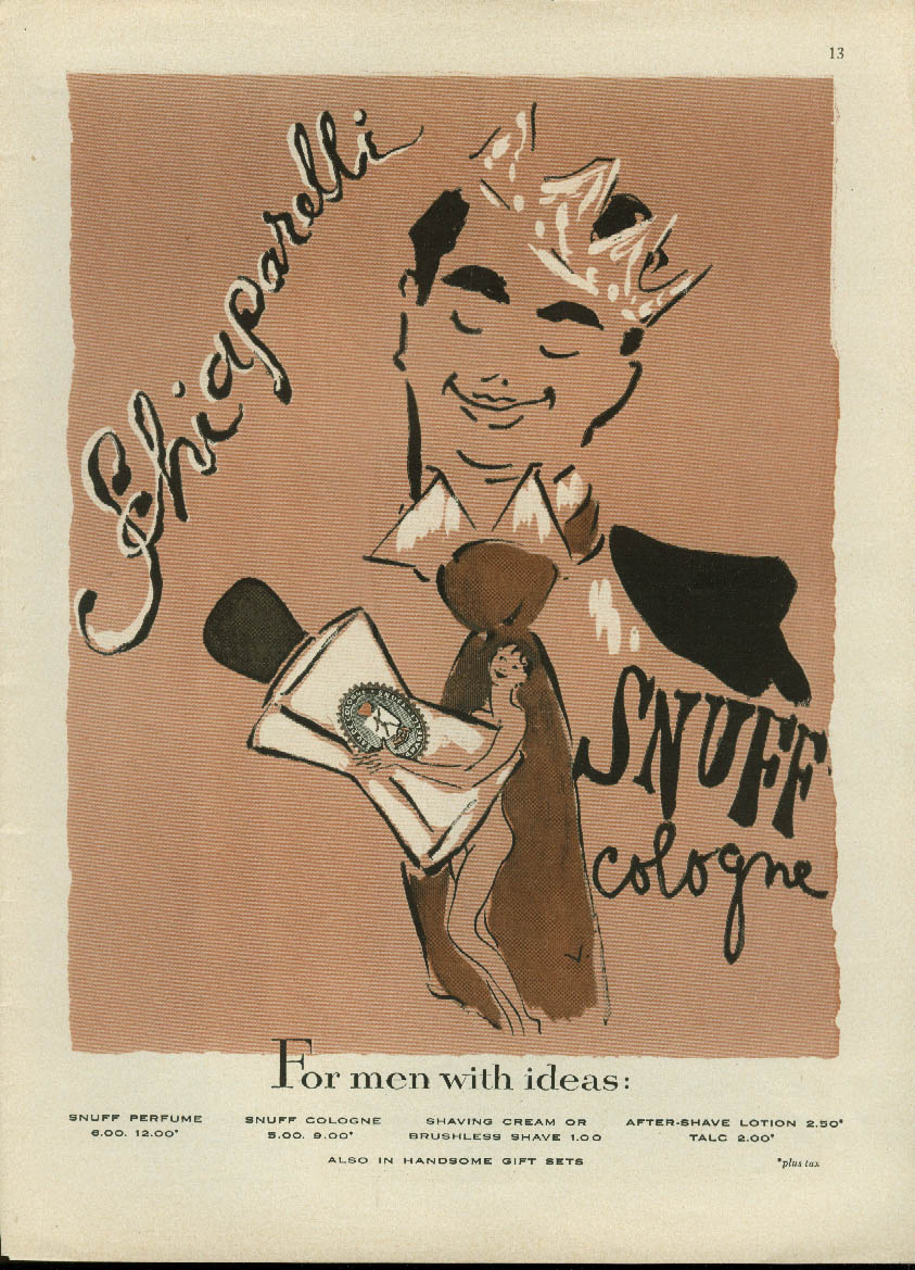 For men with ideas Snuff by Schiaparelli cologne ad 1953 nude on tie by Vertes