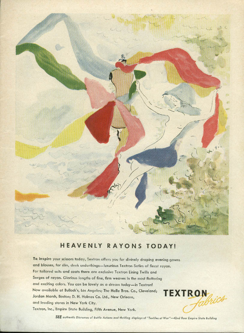 Heavely Rayons today! Textron Fabrics ad 1944 nude & mannequin by Vertes