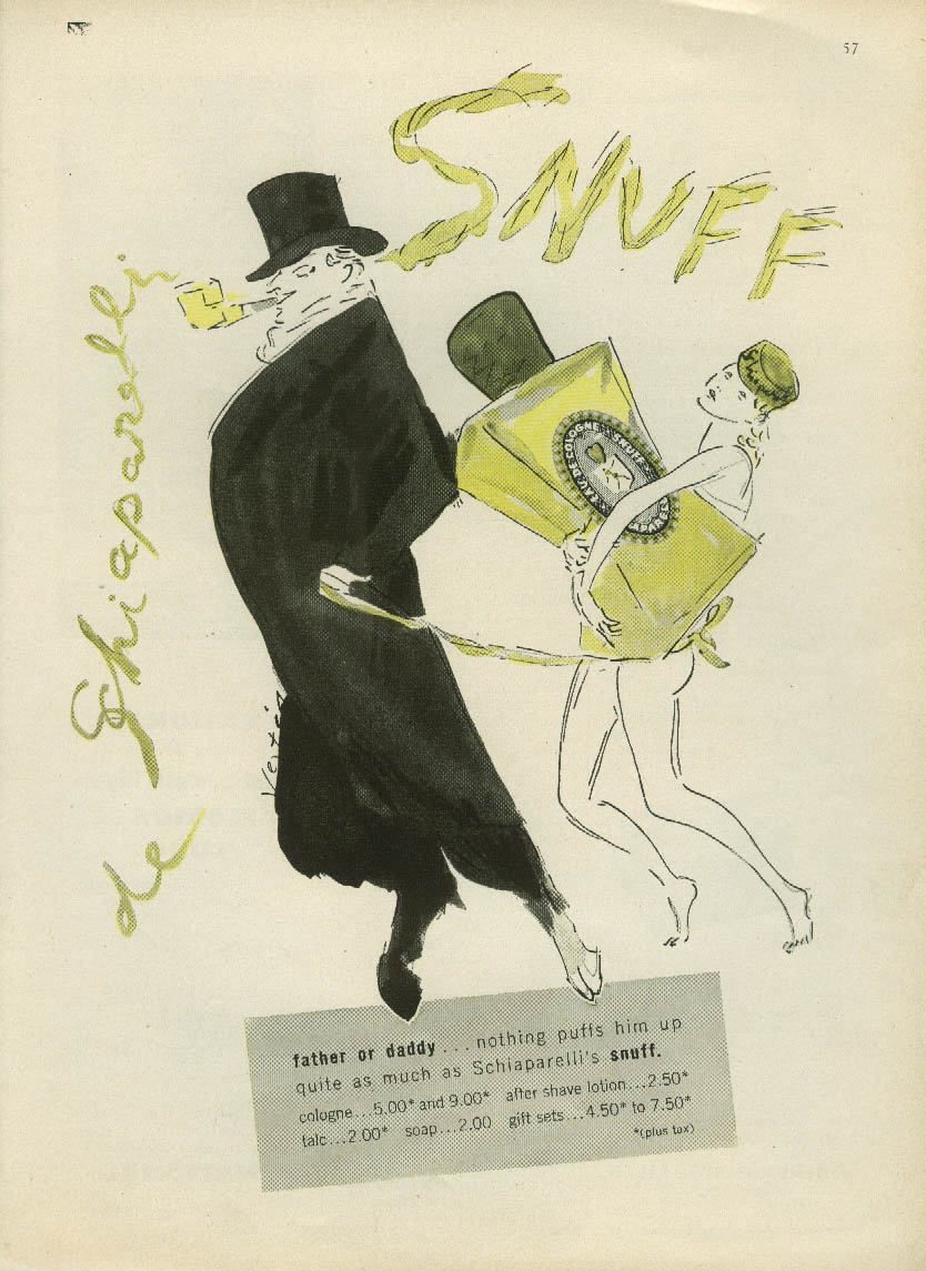 Father or daddy Snuff de Schiaparelli ad 1951 nude on leash by Vertes
