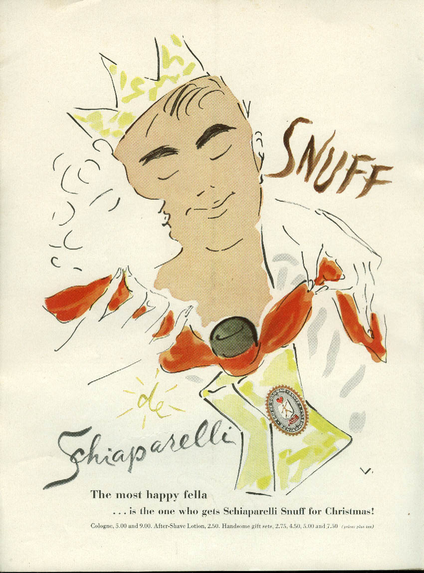 Please him with Snuff by Schiaparelli for men with ideas ad 1955 by Vertes
