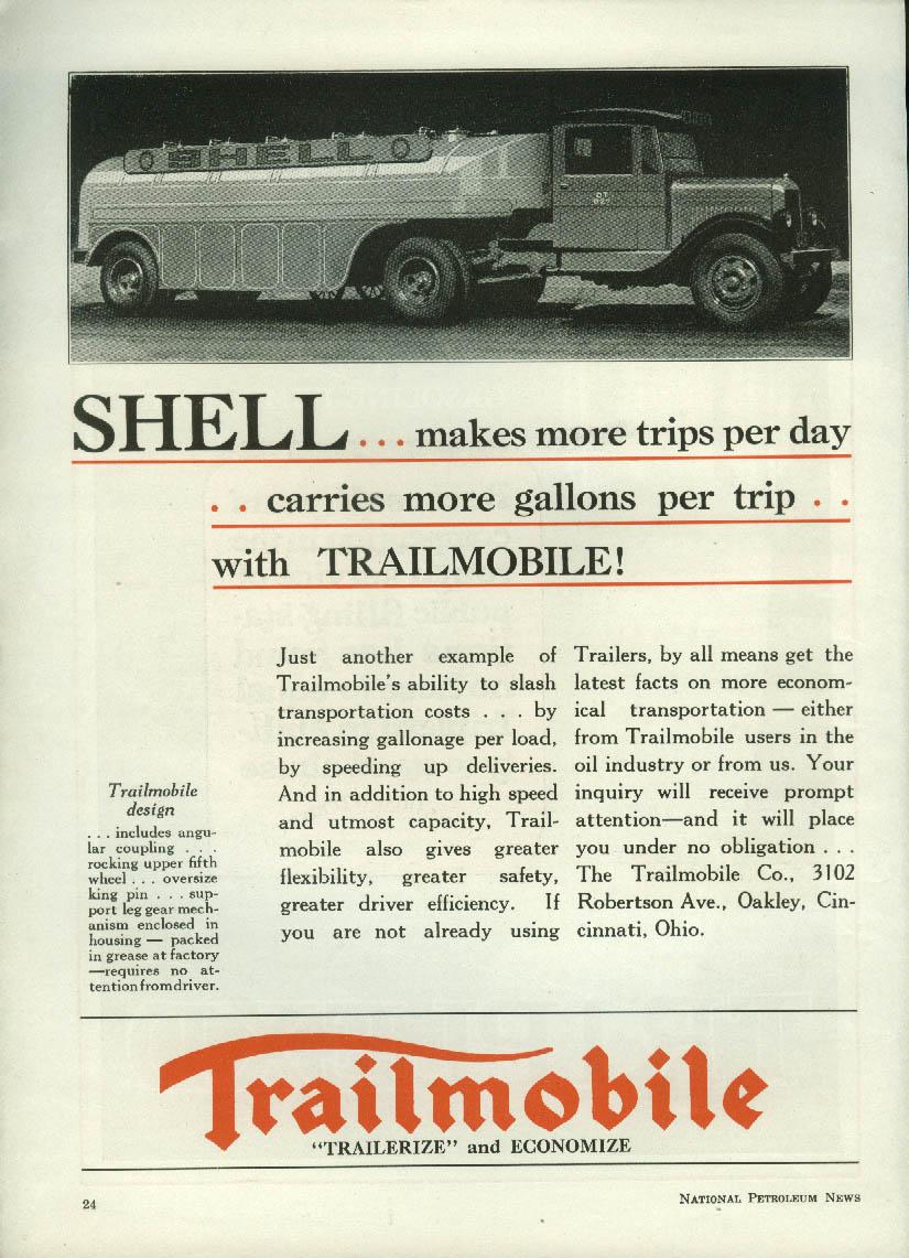 Image for Shell Gasoline Tank Truck more gallons per trip Trailmobile ad 1930