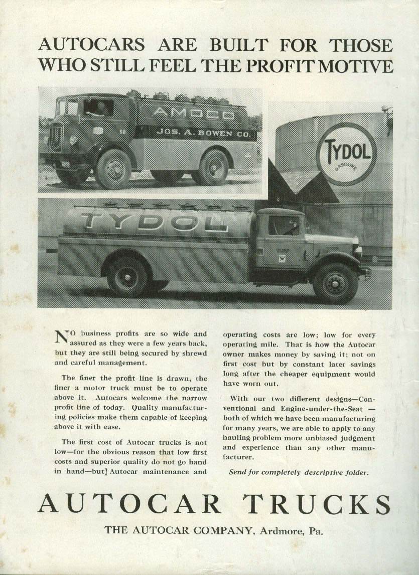 Built for the profit motive Autocar Tydol & Amoco Tank Trucks ad 1934