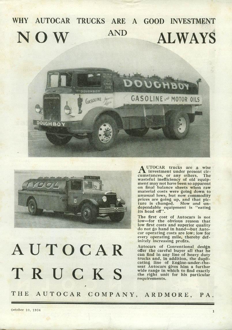 Image for Now & Always a Good Investment Autocar Trucks ad 1934 Doughboy Gasoline Tydol