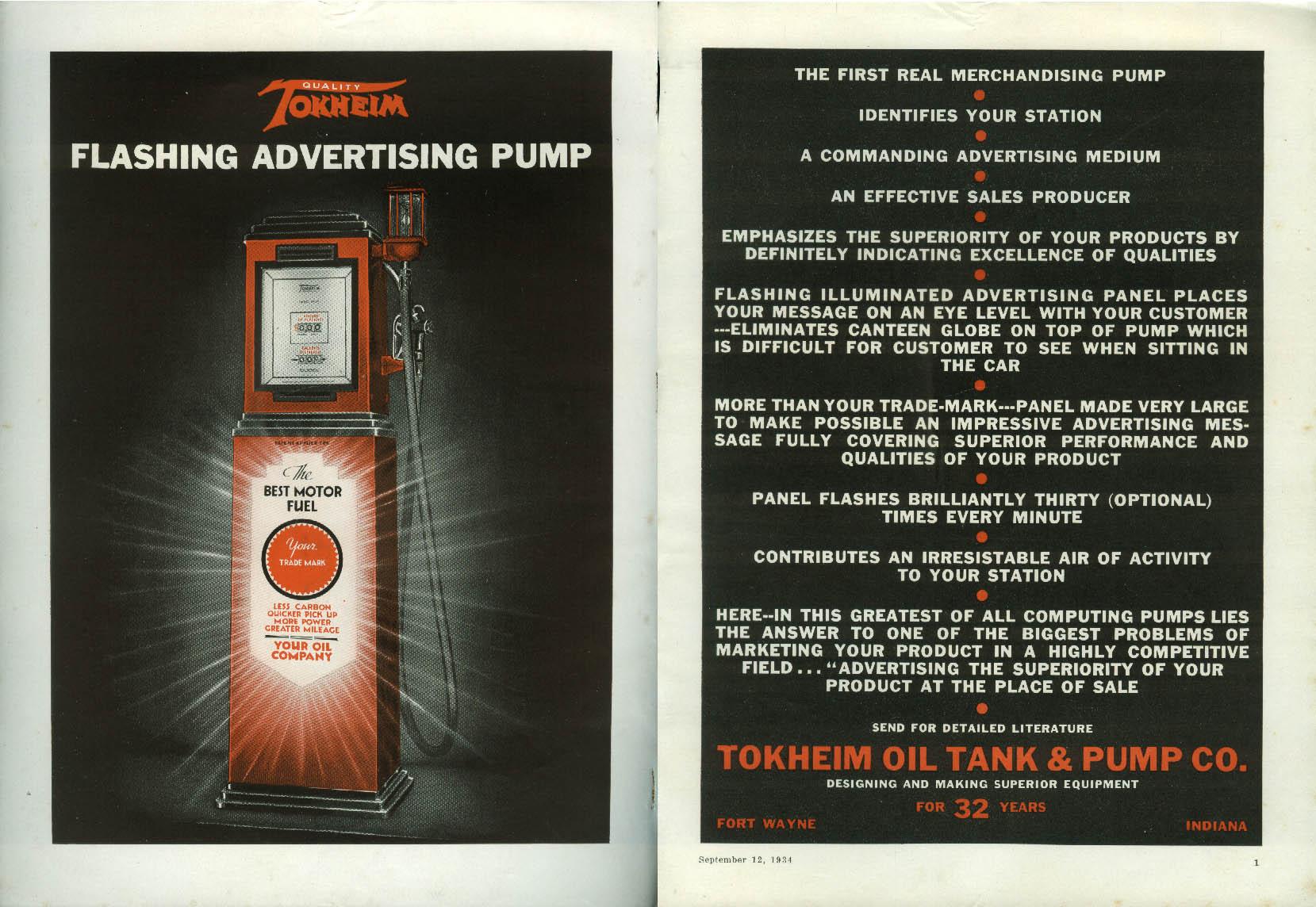 Image for Tokheim Flashing Advertising Gasoline Pump ad 1934 Fort Wayne IN