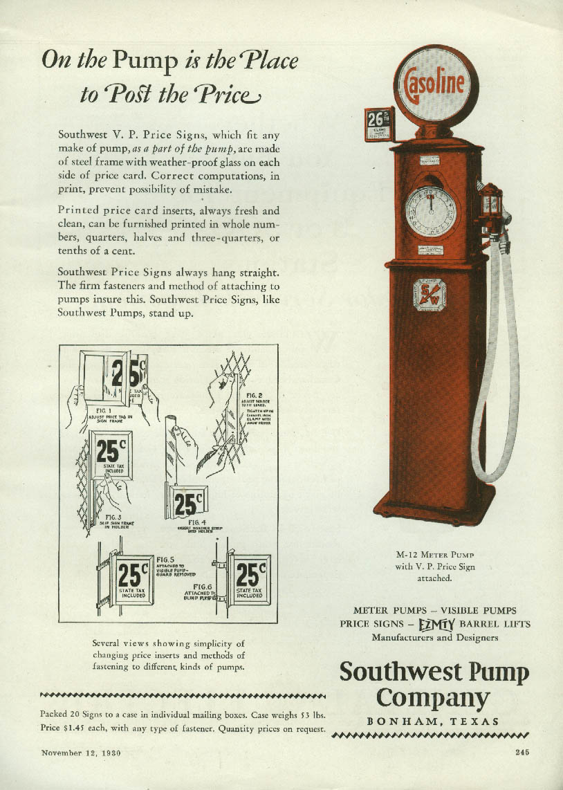 Image for The Place to Post the Price Southwest Gasoline Pump ad 1930