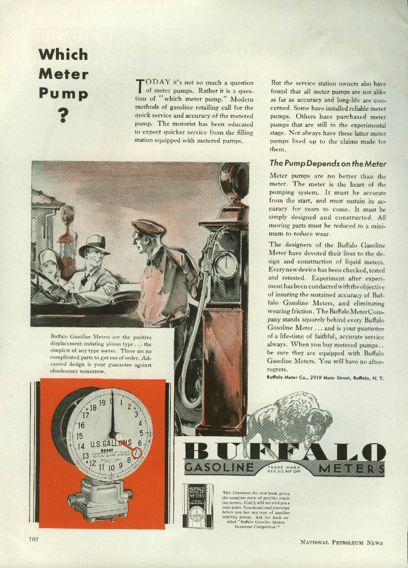 Image for Which Meter Pump? Buffalo Gasoline Meter Pump ad 1930
