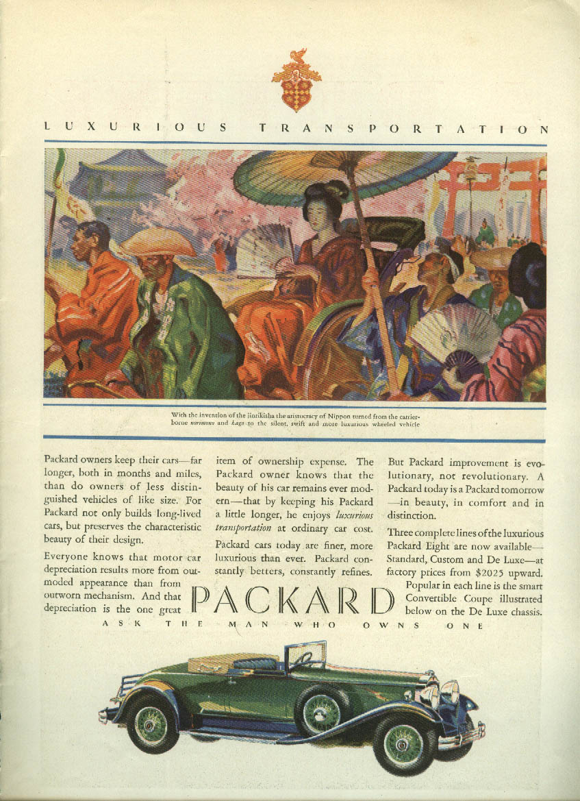 Owners keep their cars far longer Packard Cabriolet Convertible ad 1930