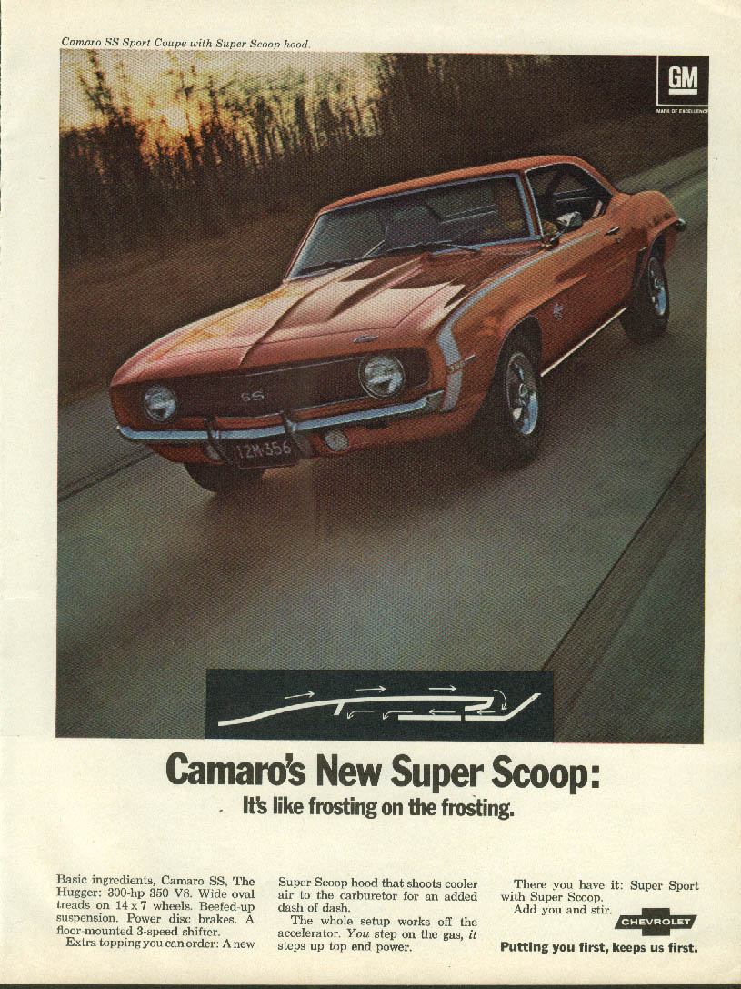Camaro's New Super Scoop: Like frosting on the frosting SS 396 ad 1969