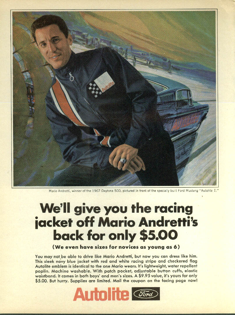 Image for We'll give you the racing jacket off Mario Andretti Autolite I Mustang ad 1967