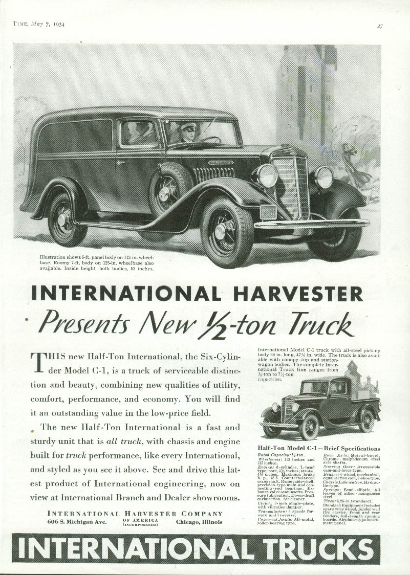 A new 1/2-ton truck International Panel Truck & C-1 Pickup ad 1934