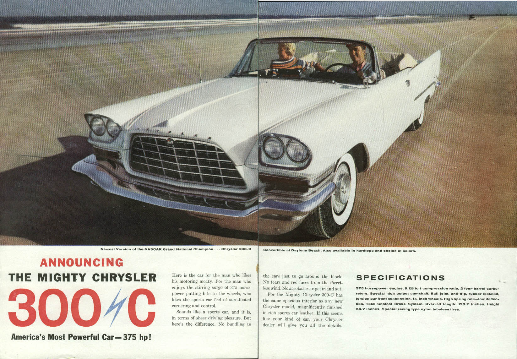 Image for America' Most Powerful Car 375hp The Might Chrysler 300-C ad 1957