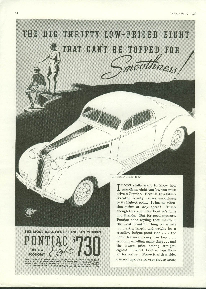 Big thrifty low-priced eight Pontiac De Luxe Coupe ad 1936