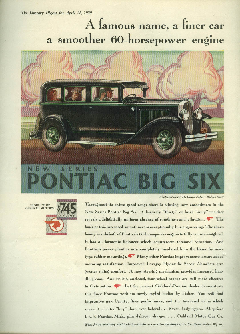 A famous name a finer car a smoother engine Pontiac Custom Sedan ad 1930