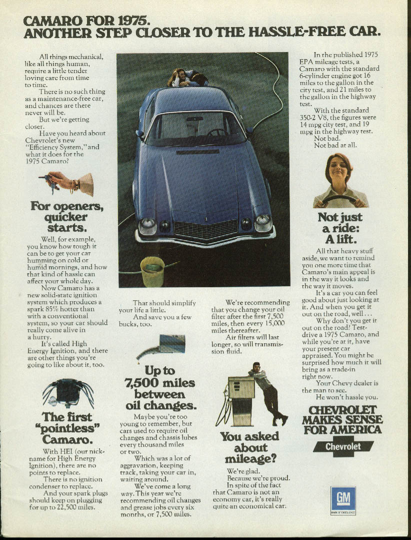 Another step closer to the hassle-free car Camaro ad 1975