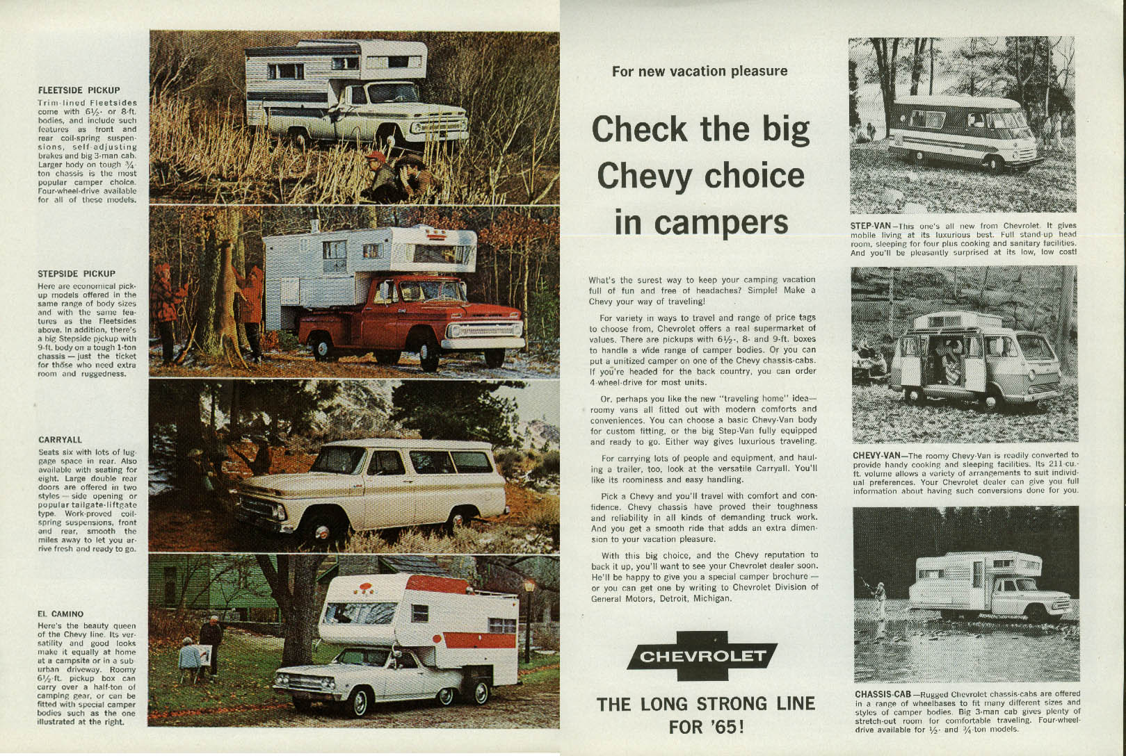 Check the big choice in campers Chevrolet Chevelle El Camino Pickup Van ad 1965