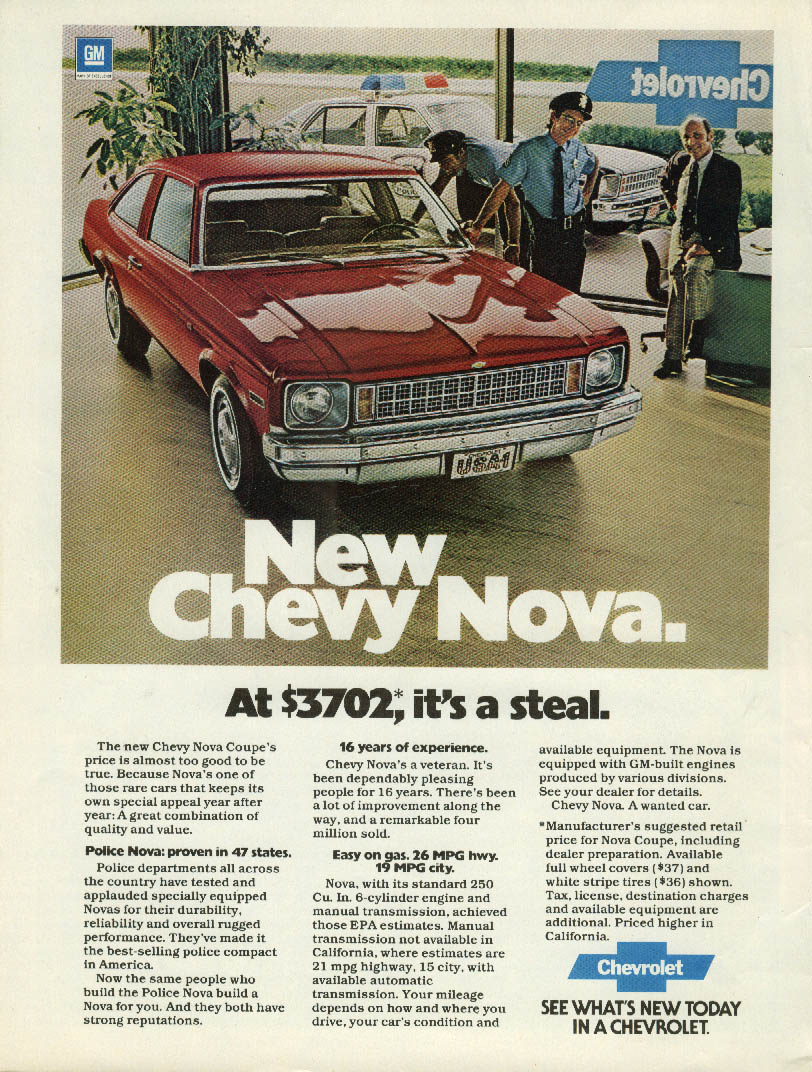 At $3702 it's a steal New Chevrolet Nova Coupe ad 1978