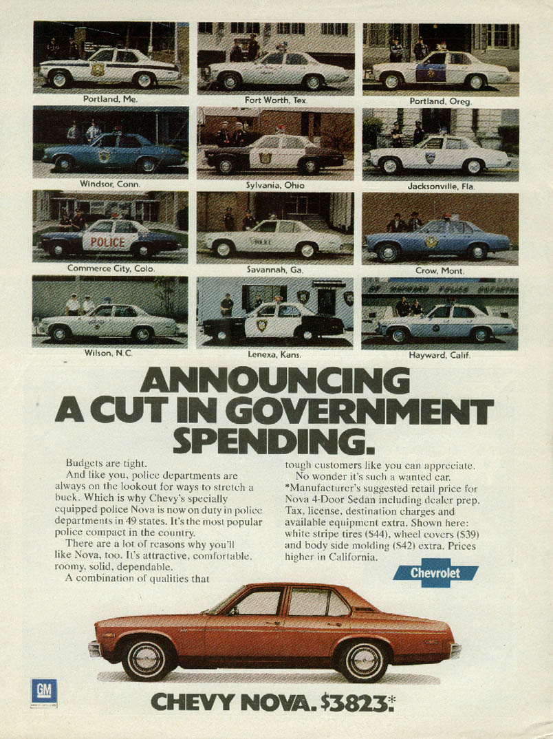 Announcing a cut in government spending Chevolet Nova Police Car ad 1978