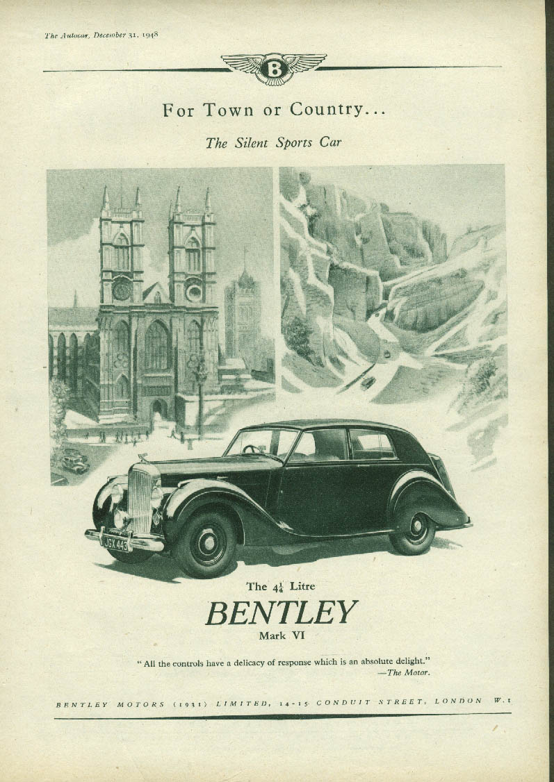 For Town and Country The Silent Sports Car Bentley Mark VI ad 1948 1949