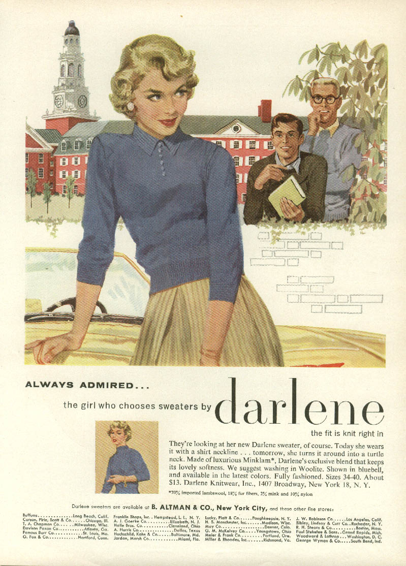 Always admired the girl who chooses sweaters by Darlene ad 1956