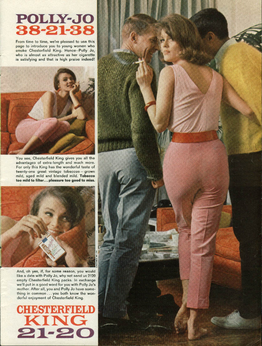 Image for Polly Jo 38-21-38 Chesterfield King Cigarettes ad 1962 pretty girl