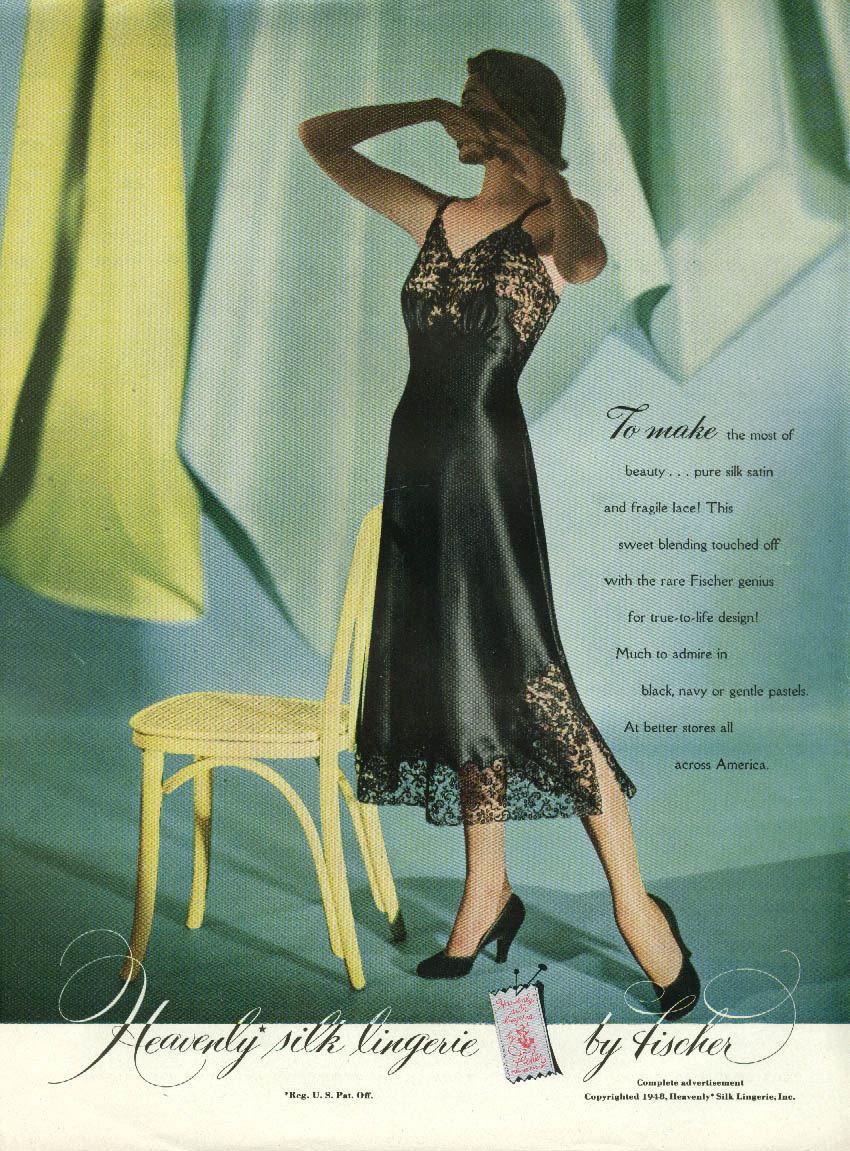 Heavenly silk black slip by Fischer / Divine D'Orsay new star ad 1948