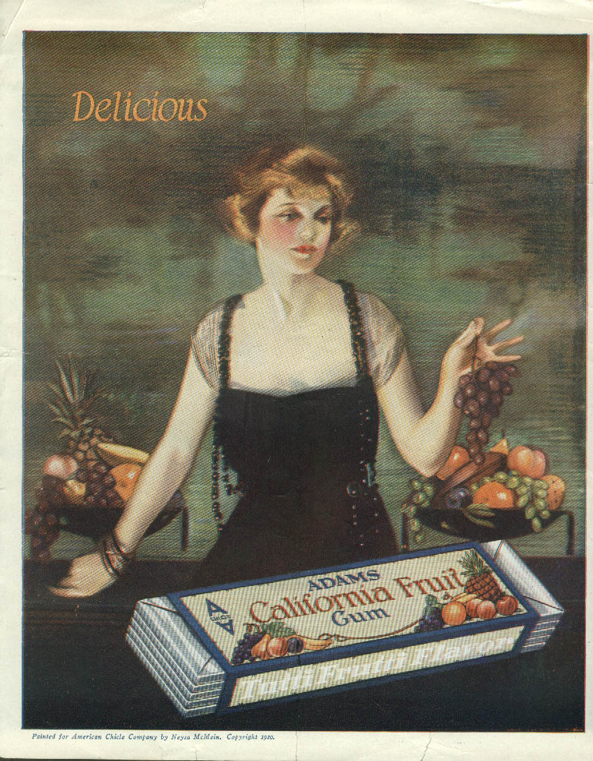Image for Delicious Adams California Fruit Chewing Gum ad 1920