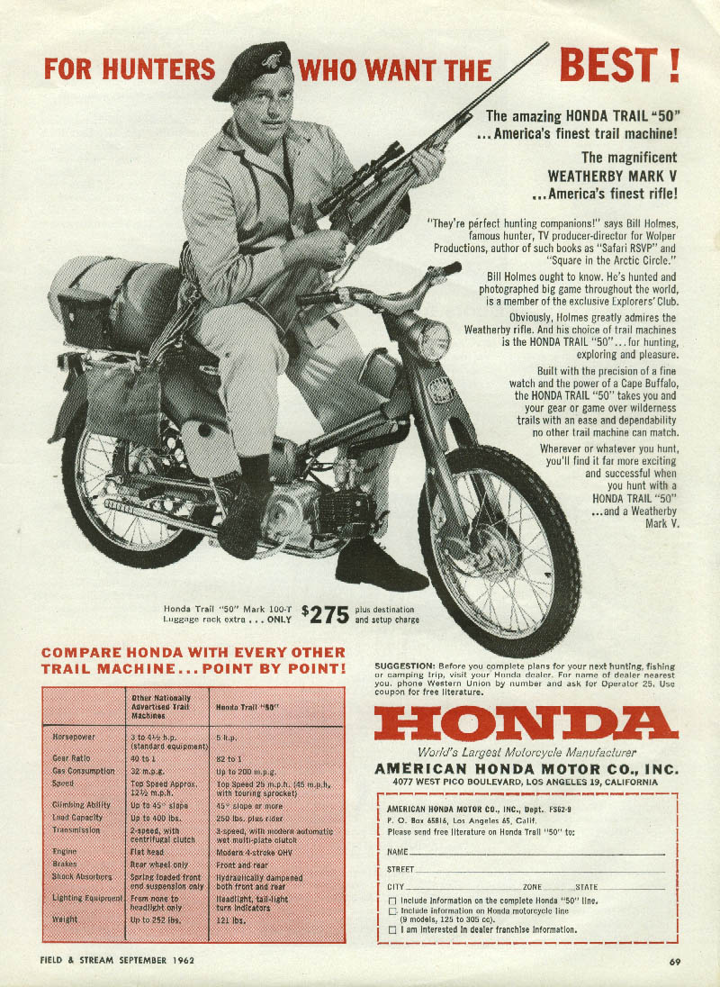 Image for TV Director Bill Holmes for Honda Trail 50 Mark T-100 motorcycle ad 1962