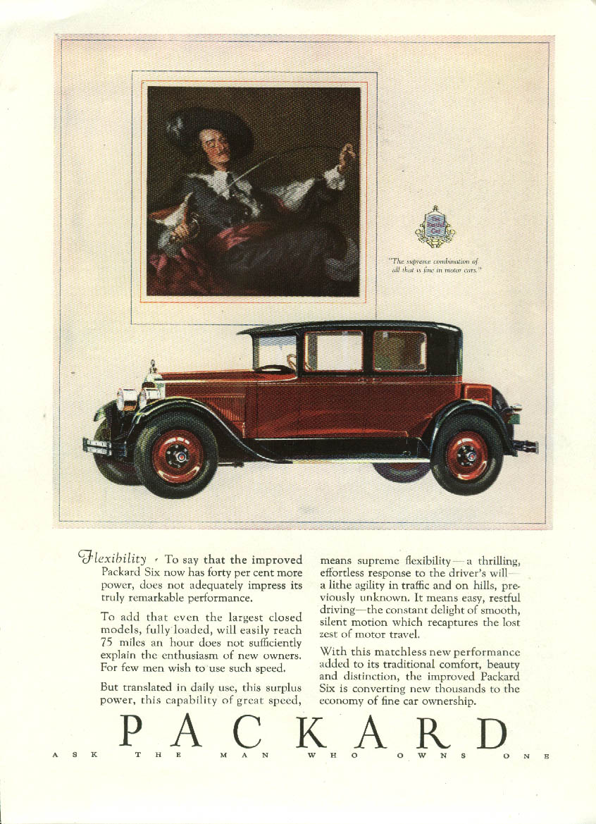 Flexibility- now 40% more power Packard Sedan ad 1927 Asia