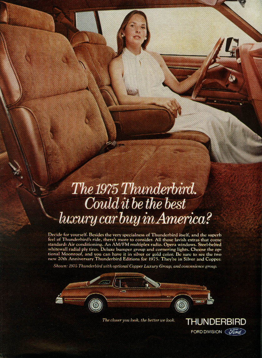 Could it be the best luxury car buy in America? Thunderbird ad 1975