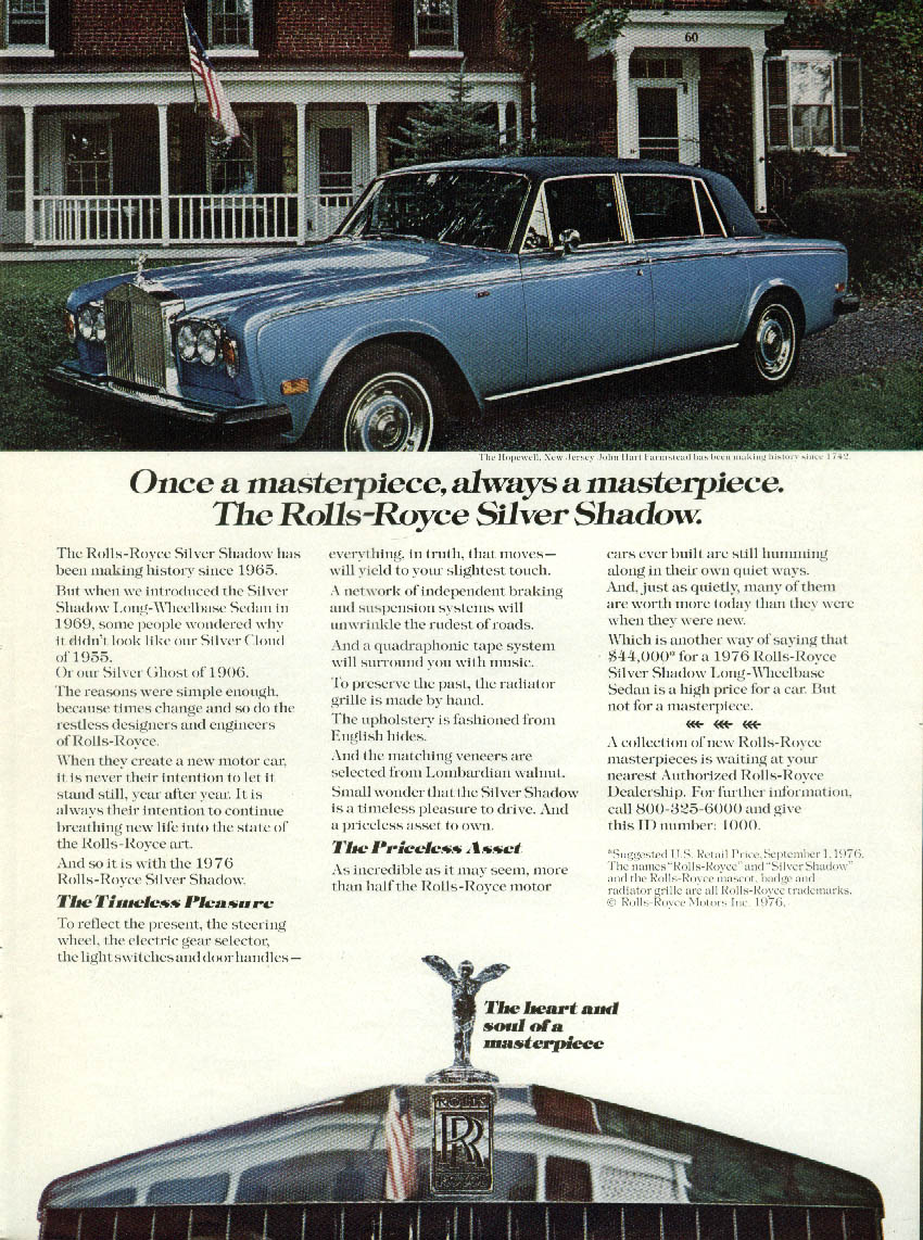 Image for Once a masterpiece always a masterpiece Rolls-Royce Silver Shadow ad 1977