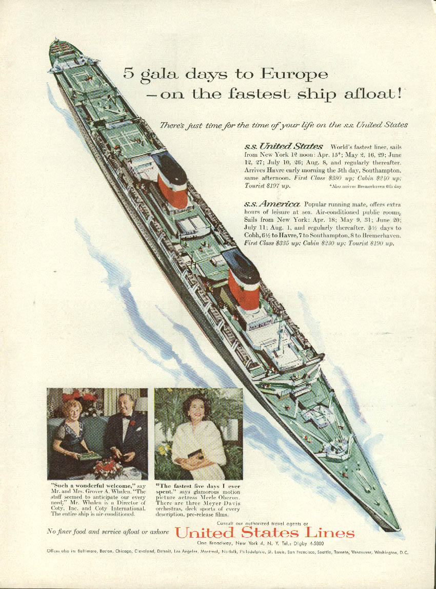 5 gala days to Europe - on the fastest ship afloat S S United States ad 1958 NY