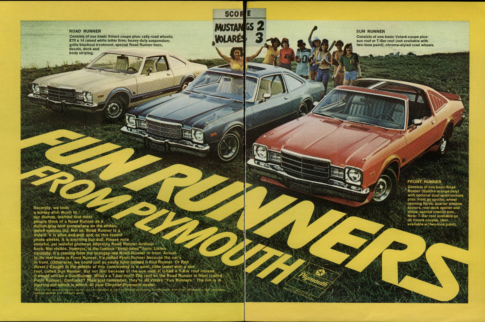 Fun Runners from Plymouth Road Runner Sun Runner Front Runner ad 1977