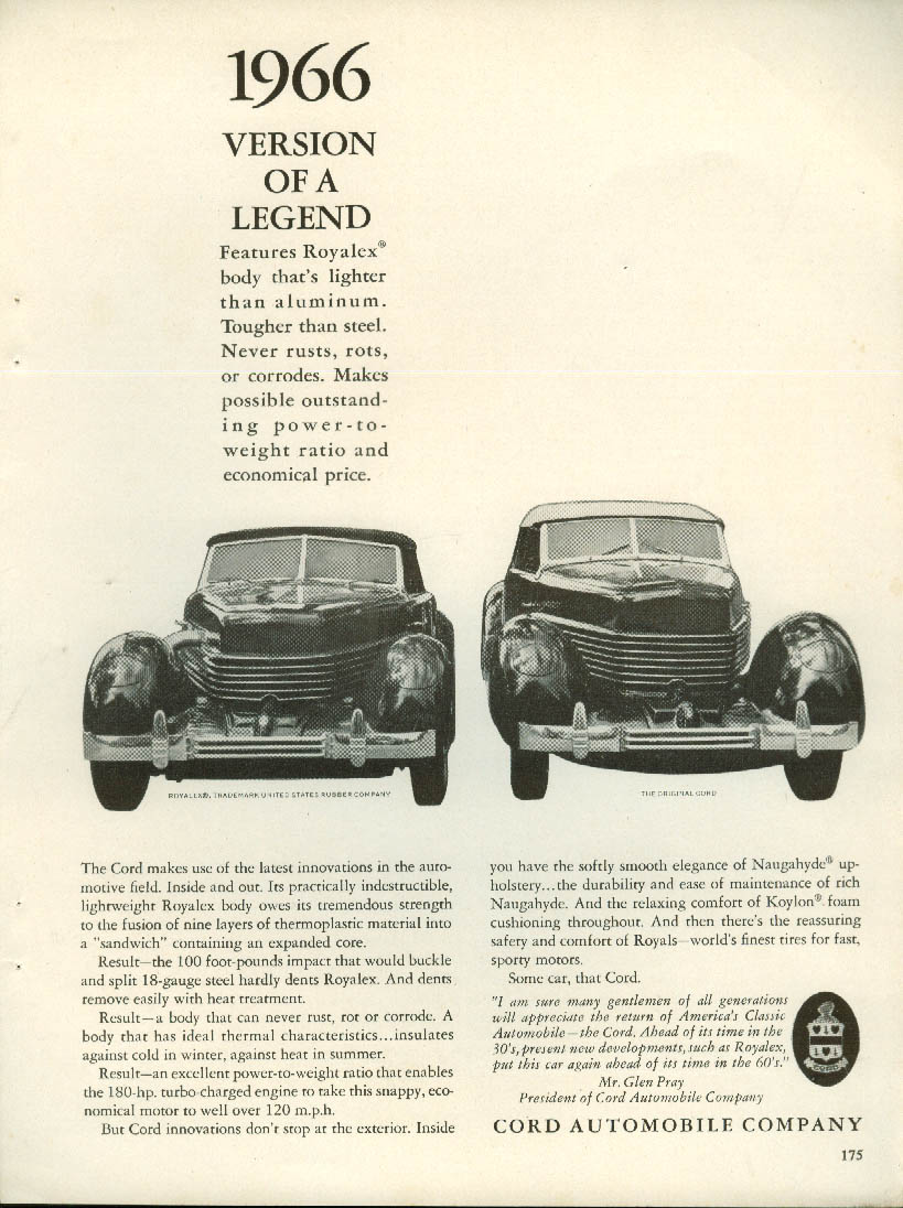 1966 Version of a Legend Glen Pray Cord ad 1966