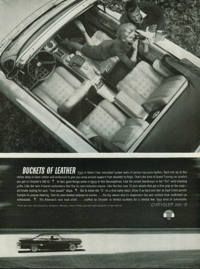 Image for Buckets of Leather Chrysler 300-G Convertible ad 1961