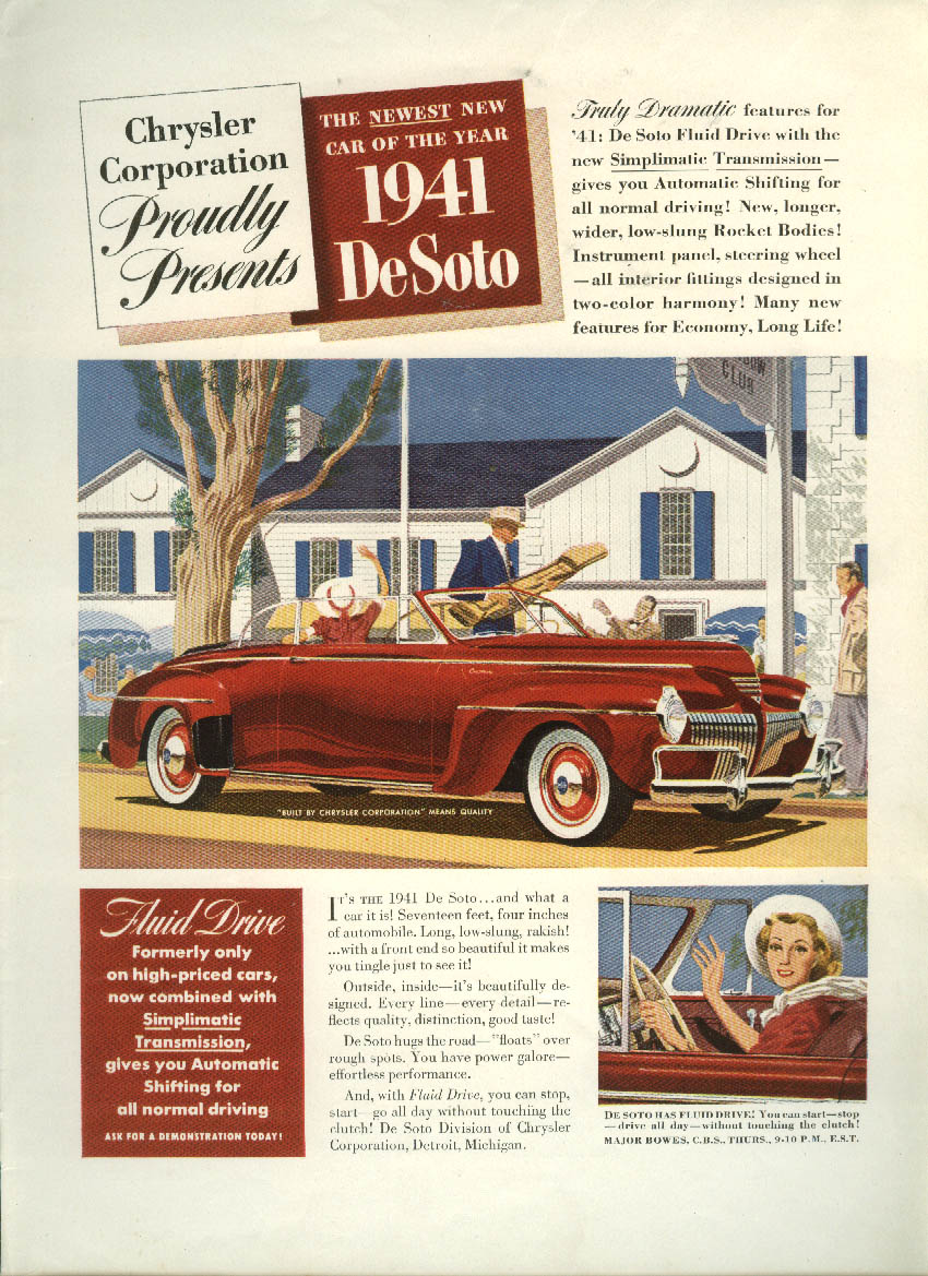 Chrysler Corporation proudly presents De Soto Convertible Coupe ad 1941 DeSoto