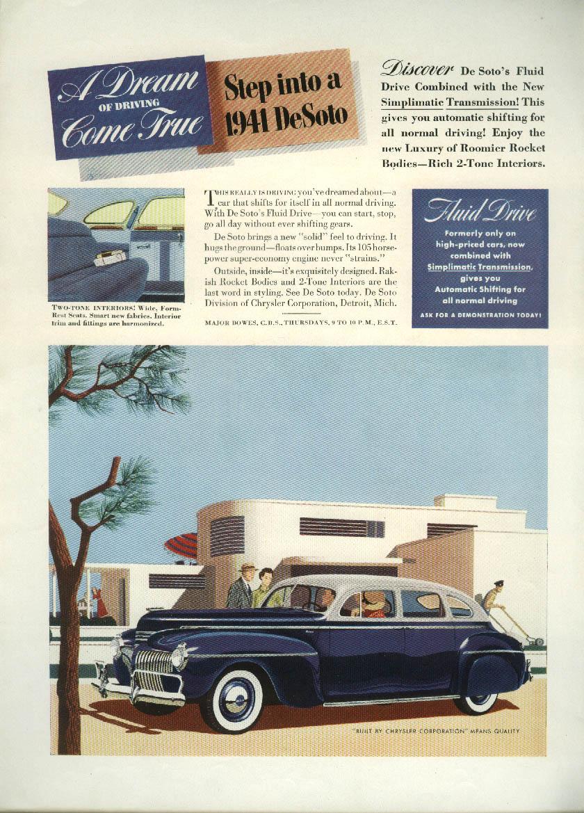 A Dream of Driving Come True De Soto Four-Door Sedan ad 1941 DeSoto