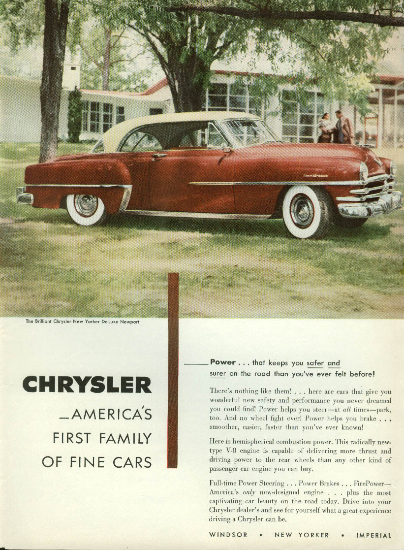 Image for Power that keeps you safer & surer Chrysler New Yorker DeLuxe Newport ad 1953