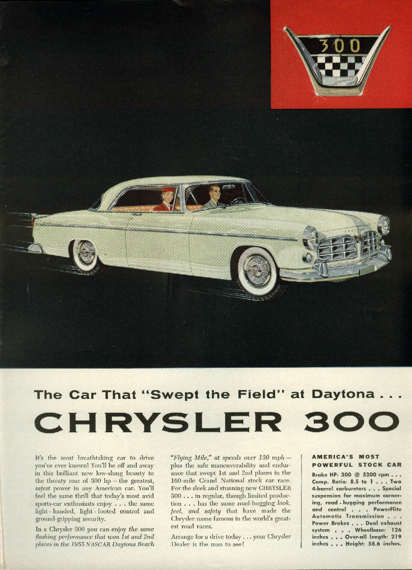 "Image for The car that ""Swept the Field"" at Daytona - Chrysler 300 ad 1955"